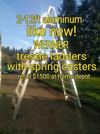 12ft trestle ladder with spring casters