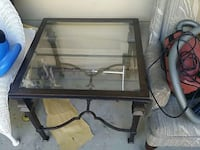 square black steel glass top side table