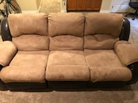 Suede and leather recliner couch