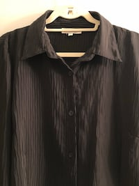 Marc Allan long sleeved shiny black button up blouse with wide cuffs. Edmonton, T5H