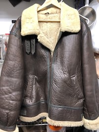 Sheepskin leather and wool B-3 men's bomber jacket