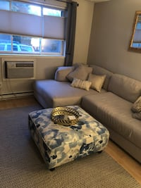 """Light Grey Sectional Sofa: left side chaise 122"""" L x 66"""" D x 38""""H Boston, 02210"""