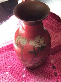 Vintage Solid Brass Floral Enamel Vase made in India Nokesville, 20181