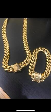 18k stainless steel real gold plated Miami Cuban New York