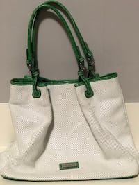 Arcadia White and green leather tote used twice like new