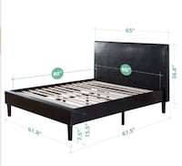 Queen size upholstered bed platform with wooden sl