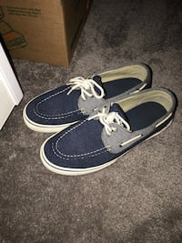 pair of blue Sperry boat shoes