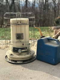 Kerosene heater and blue kerosene can