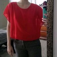 Chiffon blouse Red Bat Sleeve Small Built In Camisole Womens  Sherwood, 72120