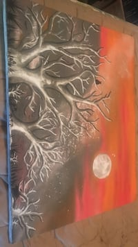 red and black withered tree painting