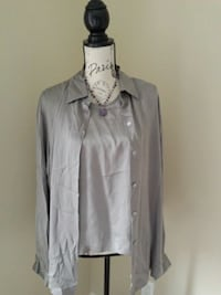 Jones silk camisole and blouse with necklace.  Toronto, M6L 2R7