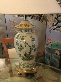 Chinese ceramic table lamp cast metal base.