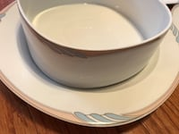 Mikasa China place setting for 8 with serving pieces. New, peach and light blue rimmed. Manassas, 20112