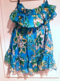Lowered-BEBE- Xs -Floral Silk Shell Strapless Ruffle Top in Blue  Toronto, M6B 3J3