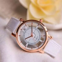round gold-colored chronograph watch with white leather strap City of Industry, 91744