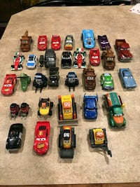 Large lot of cars toy characters