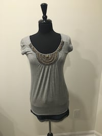 Grey beaded shirt from smart set size S