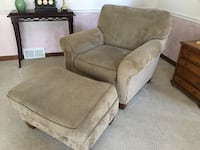 Tan Armchair/couch with ottoman