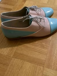pair of blue leather peep toe heels Toronto