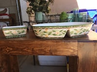 green, beige, and yellow floral painted ceramic bowl