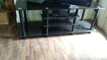 Black glass tv rack