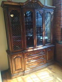 brown wooden framed glass display cabinet MONTREAL