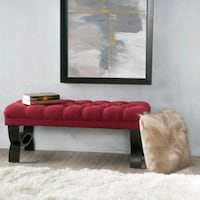 Deep Red Tufted Ottoman Bench Glendale, 91210
