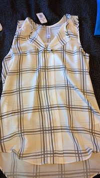 women's beige and gray sleeveless button-up dress
