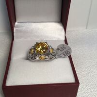 New Citrine Daisy Ring, size 9.25, Sterling Silver Filled Chesapeake, 23320