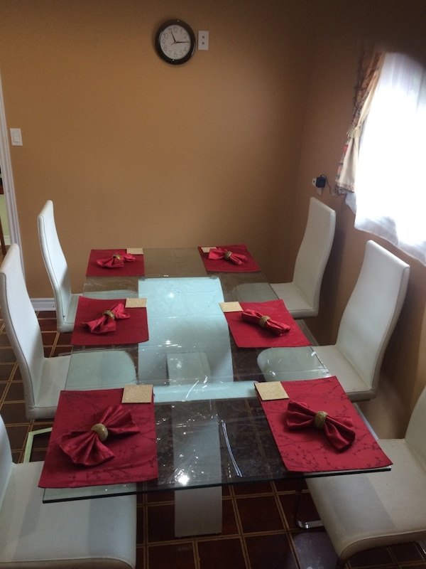 White and red wooden dining table set