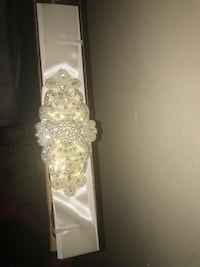 New ivory pearl and beaded satin belt