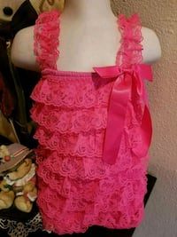 Baby Girls Size - 12 Months Hot Pink Lace Romper - Sherman