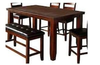 New Brown wooden dining table set with bench Perris, 92571