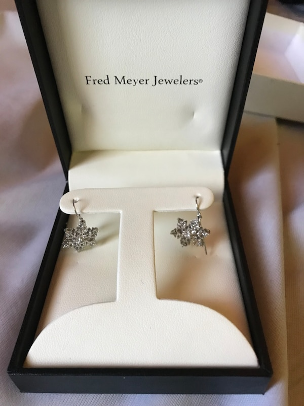 Pair Of Silver Fred Meyer Jewelers Earrings With Box