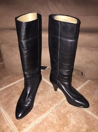 black leather back zip heeled knee high boots Lambton Shores, N0M 1T0