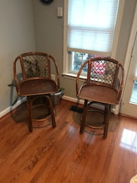 two brown wooden framed padded armchairs Fairfax, 22030