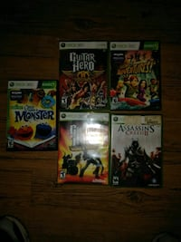 Five assorted Xbox 360 game cases Pittsburgh