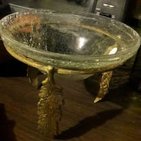 Elegant glass serving dish on brass stand Somerville, 02145