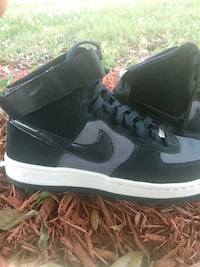 air Force ones    black suade and silver and mesh like material