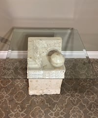 """Stone and Glass End Table Contemporary Design 26"""" by26"""""""