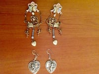 Hand crafted long dangling earrings, and silver look dangling charms! Saint Petersburg, 33701