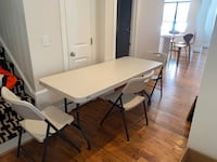 Lifetime 6' table and 3 folding chairs