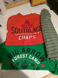 red and green crew-neck shirts