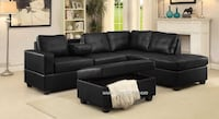 Black/white leather sectional w/hidden storage & cup holders**SALE*NO CREDIT NEEDED** Essex