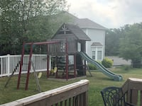 Swing Set with House, Swings, Slide, picnic table, and climbing wall Lake Hopatcong, 07849