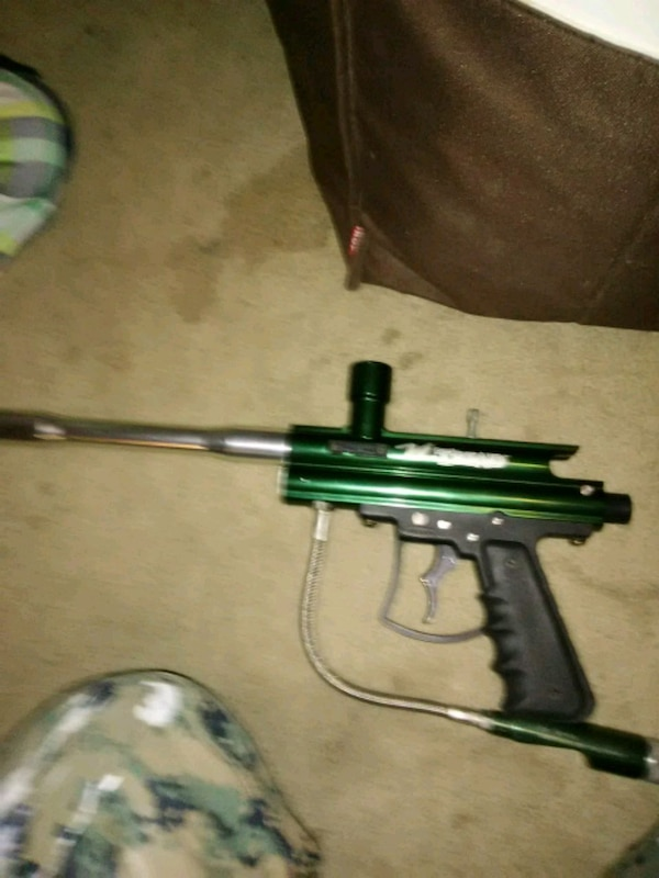 green and black paintball gun