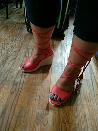 Just fab orange lace-up wedge sandals Queens, 11692