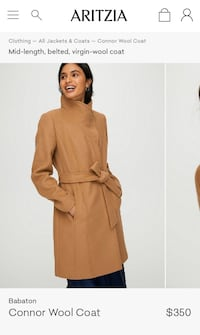 Babaton Connor wool coat from Aritzia. Tag still attached. Brampton, L6X 3T3