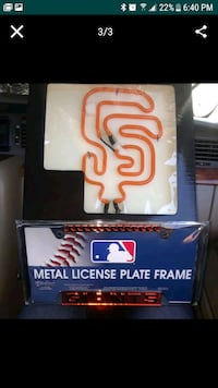 SF Giants Neon light  license plate frame Stockton, 95206