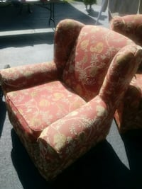 red and beige floral wing chair Triangle, 22172